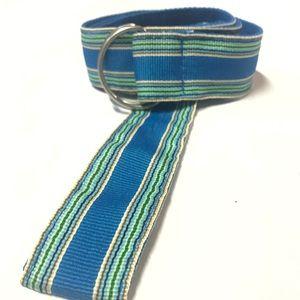 Accessories - Ribbon Belt Blue Stripe Size 16 Silver D-Ring